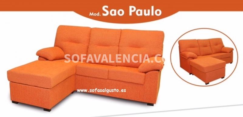 Miniatura del Sofá Sao Paulo con chaiselongue | Sofá realizado a medida en nuestra Fábrica de Sofás Valencia