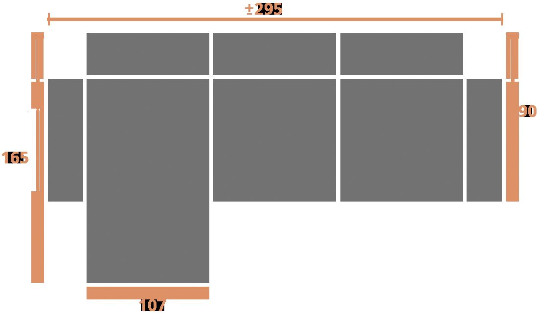 2 plazas + chaise longue 295-izq Modelo Sofá CHaiselongue Modelo Memory