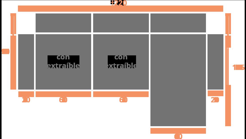 Sofá de 2 plazas + Chaise Longue 220 derecha Modelo Sofá Chaiselongue Modelo Madrid
