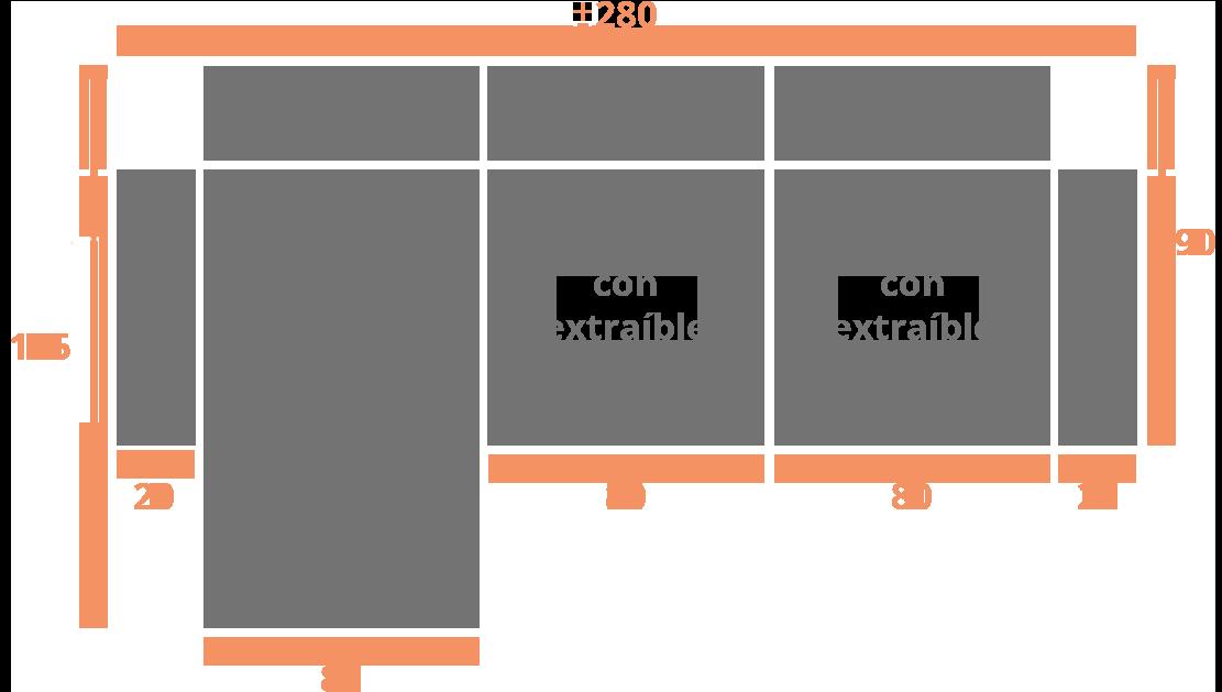 Sofá de 2 plazas + Chaise Longue 280 izquierda Modelo Sofá Chaiselongue Modelo Madrid