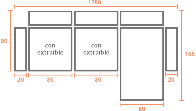 Sofá de 2 plazas + Chaise Longue 280 derecha Modelo Sofá Chaiselongue Modelo Madrid