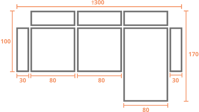 2 plazas + Chaise Longue 80 30 DER Modelo Sofá Chaiselongue Modelo Torino