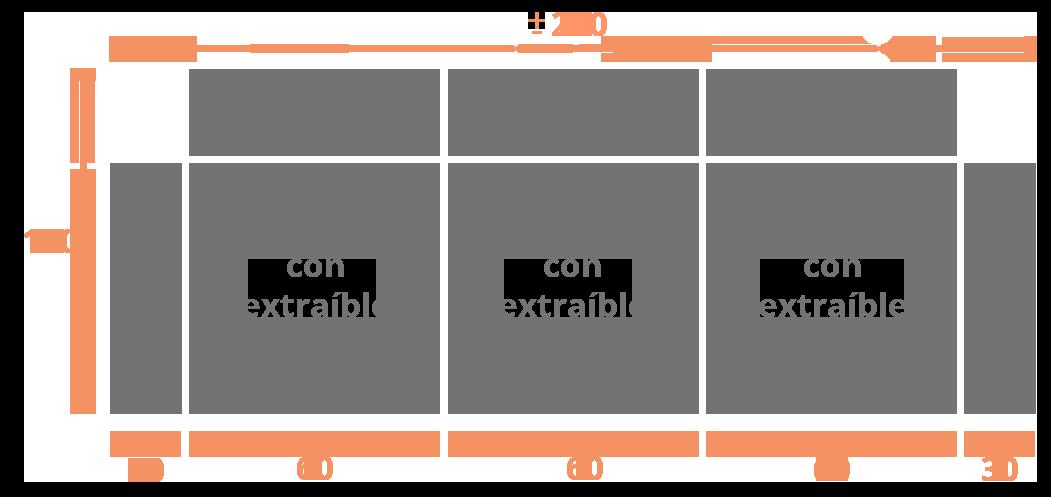 Sofá 3 plazas 240  sentadas Modelo Sofá Modelo Goya Extraible