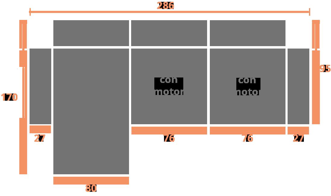2 plazas + chaise longue 286 izquierda Modelo Sofá Chaiselongue Modelo Valencia