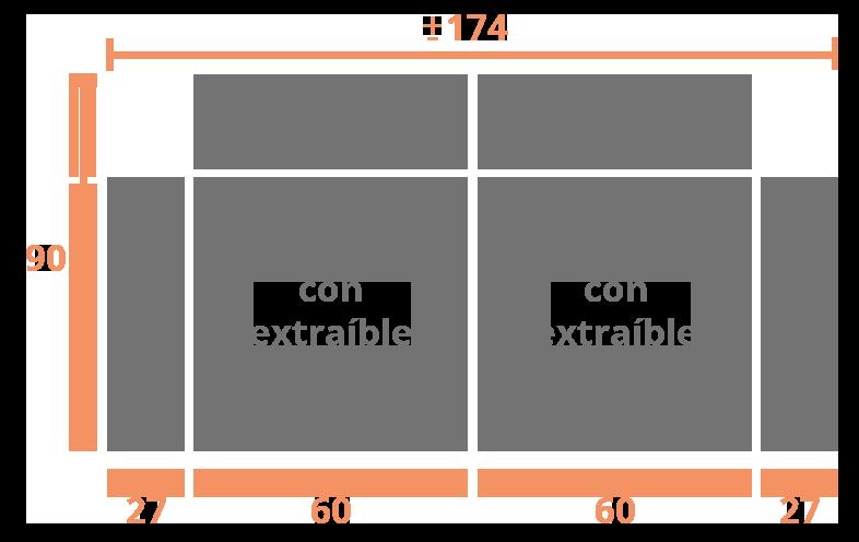 2 plazas 174 Modelo Sofá Modelo Menorca
