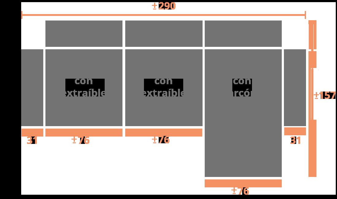 2 plazas + Chaise Longue 286 Der Modelo Sofá Chaise longue Modelo Tarragona