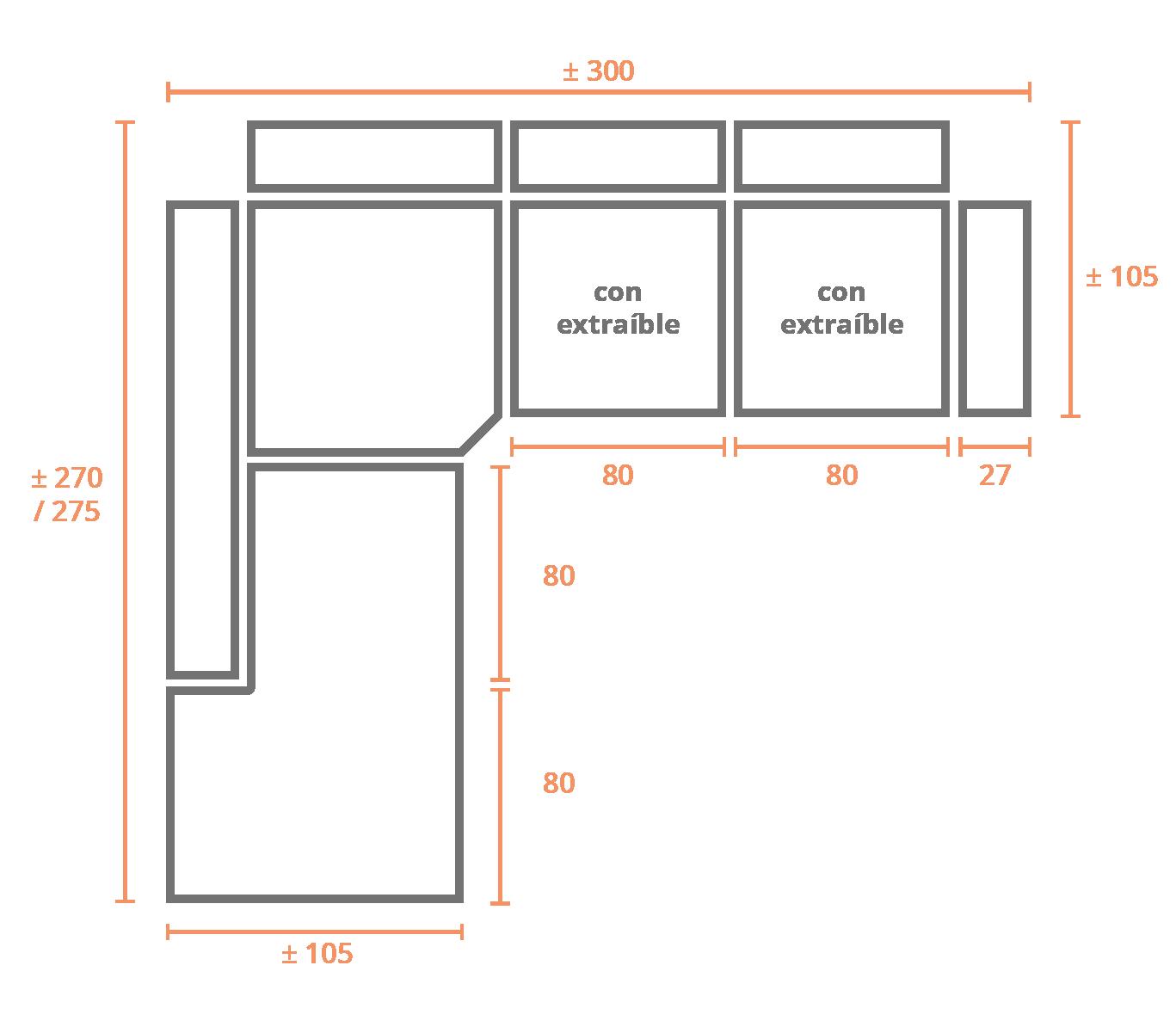 Rinconera Terminal Izquierda 300x270 Izquierda Modelo Sofá Rinconera Modelo Palma