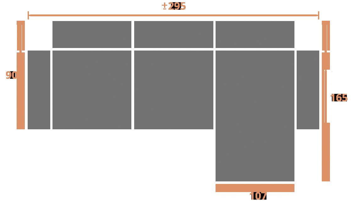 2 plazas + chaise longue 295-der Modelo Sofá CHaiselongue Modelo Memory