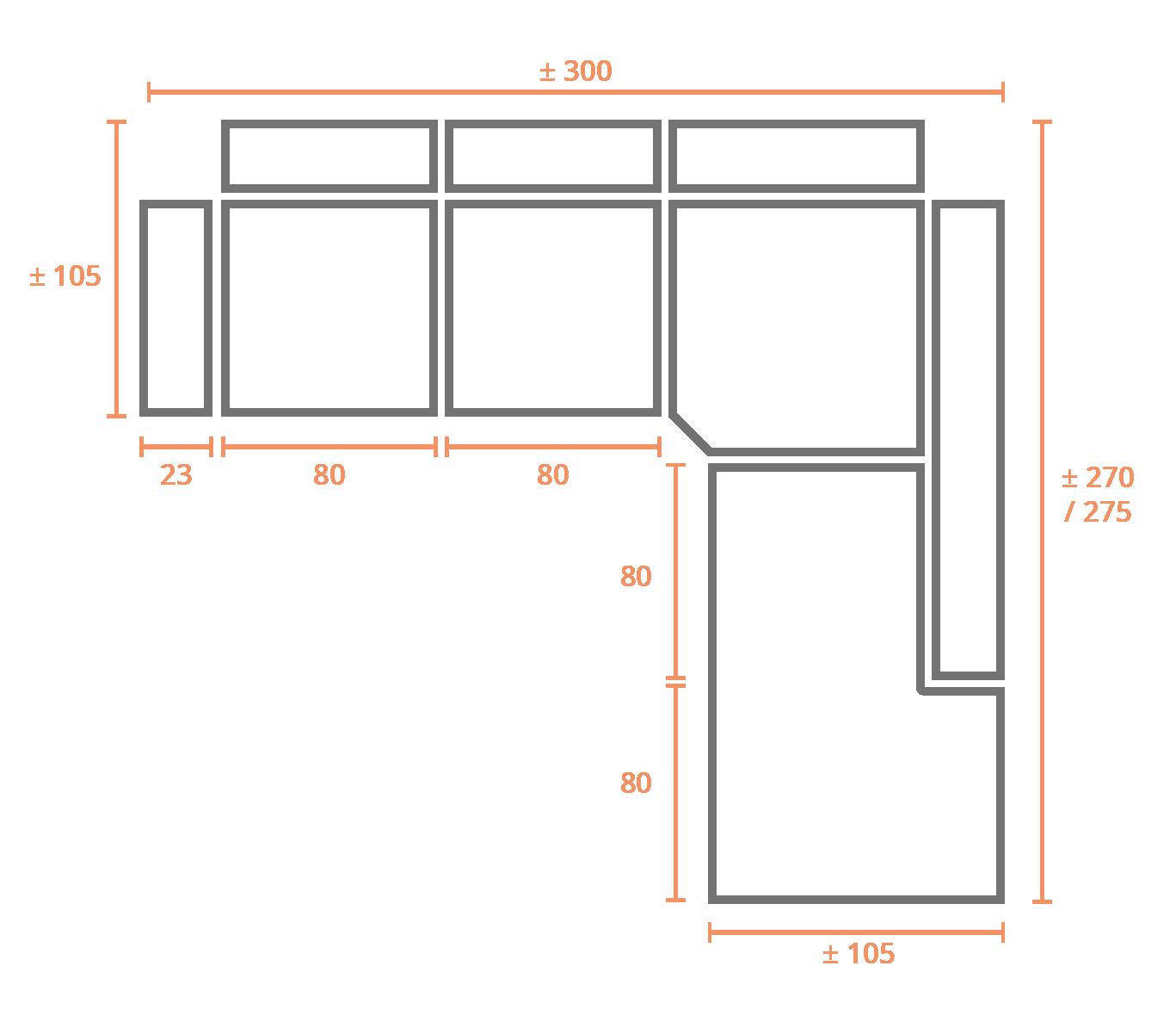 Rinconera Terminal Derecha 300x270 Derecha Modelo Sofá Rinconera Modelo Génova